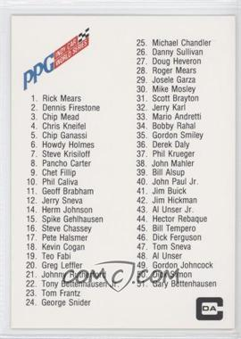 1983 CDA PPG Indy Car World Series - [Base] #N/A - Checklist
