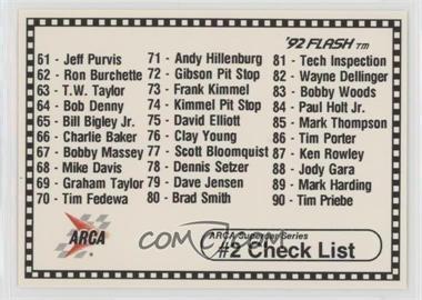 1992 Arca Supercar Series - [Base] #108 - Checklist