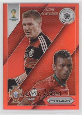 2014 Panini Prizm World Cup - Matchups - Red Prizms #14 - Bastian Schweinsteiger, Nani /149