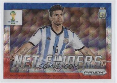 2014 Panini Prizm World Cup - Net Finders - Blue & Red Wave Prizms #3 - Sergio Aguero