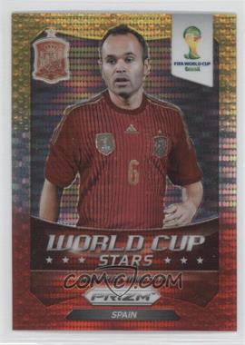 2014 Panini Prizm World Cup - Stars - Yellow & Red Pulsar Prizms #30 - Andres Iniesta