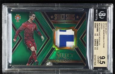 2015-16 Panini Select - Select Stars Memorabilia - Green Prime #ST-CR7 - Cristiano Ronaldo /5 [BGS9.5GEMMINT]