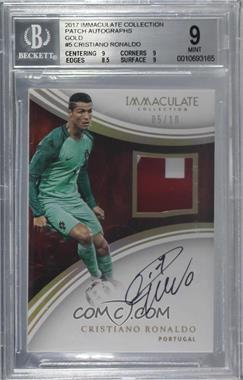 2017 Panini Immaculate Collection - Patch Autographs - Gold #P-CR7 - Cristiano Ronaldo /10 [BGS 9 MINT]