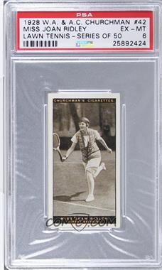1928 Churchman's Lawn Tennis - Tobacco [Base] #42 - Miss Joan Ridley [PSA6EX‑MT]
