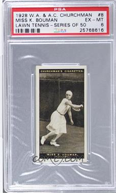 1928 Churchman's Lawn Tennis - Tobacco [Base] #8 - Miss K. Bouman [PSA 6 EX‑MT]