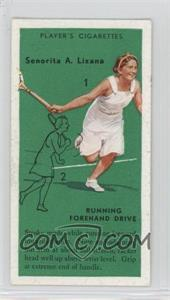 1936 Player's Cigarettes Tennis - Tobacco [Base] #9 - Senorita A. Lizana (Running Forehand Drive)