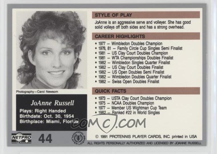 1991 NetPro The Legends - [Base] #44 - JoAnne Russell