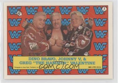 """1987 Topps WWF - Stickers #9 - Dino Bravo, Johnny V, Greg """"The Hammer"""" Valentine"""