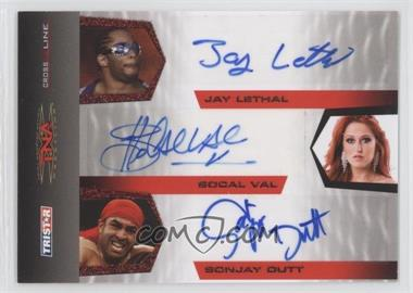 2008 TRISTAR TNA Wrestling Cross the Line - Triple Autographs - Red #C3-3 - Jay Lethal, SoCal Val, Sonjay Dutt /25