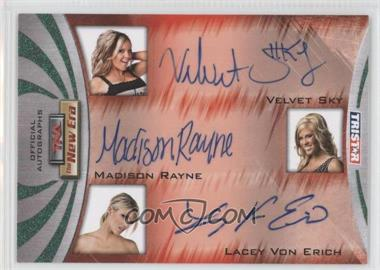2010 TRISTAR TNA The New Era - Triple Autographs - Green #A3-2 - Velvet Sky, Madison Rayne, Lacey Von Erich /25