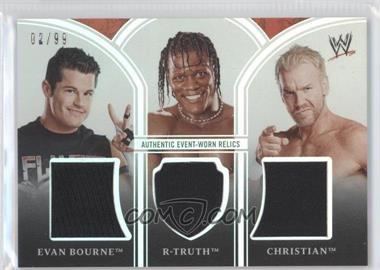 2010 Topps Platinum WWE - Triple Relics #PTR-3 - Evan Bourne, R-Truth, Christian /99