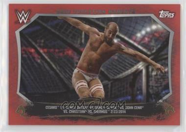 2015 Topps WWE Undisputed - Cage Evolution Moments - Red #CEM-14 - Randy Orton, Daniel Bryan, John Cena, Cesaro, Christian, Sheamus