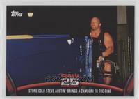 Stone Cold Steve Austin brings a zamboni to the ring