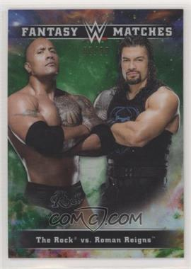 2020 Topps Chrome WWE - Fantasy Matches - Green Refractor #FM-7 - Roman Reigns, The Rock /99